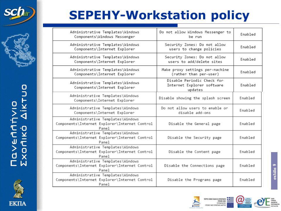 σελίδα 10 ΕΚΠΑ SEPEHY-Workstation policy