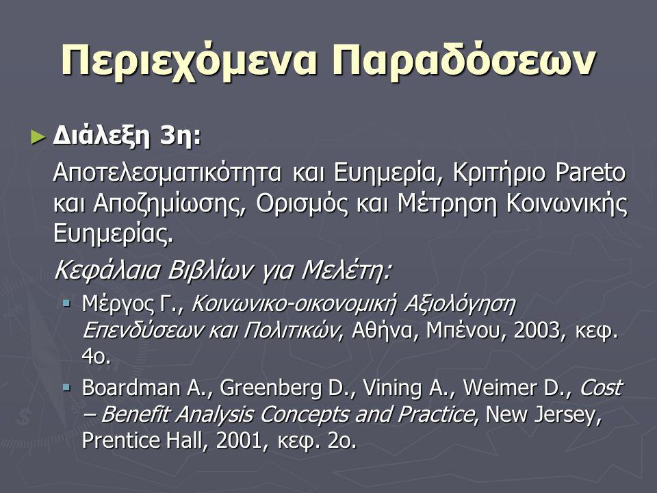 Περιεχόμενα Παραδόσεων ► Διάλεξη 3η: Αποτελεσματικότητα και Ευημερία, Κριτήριο Pareto και Αποζημίωσης, Ορισμός και Μέτρηση Κοινωνικής Ευημερίας.