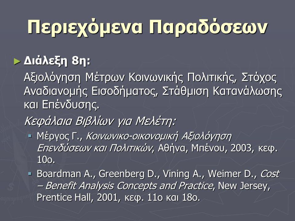 Περιεχόμενα Παραδόσεων ► Διάλεξη 8η: Αξιολόγηση Μέτρων Κοινωνικής Πολιτικής, Στόχος Αναδιανομής Εισοδήματος, Στάθμιση Κατανάλωσης και Επένδυσης.