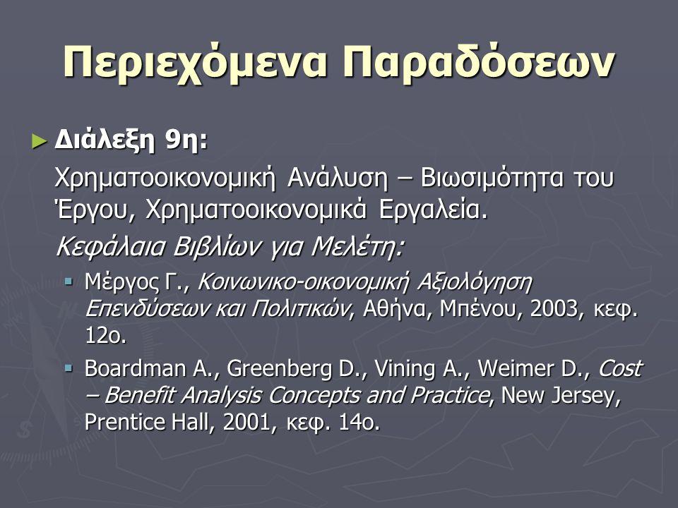 Περιεχόμενα Παραδόσεων ► Διάλεξη 9η: Χρηματοοικονομική Ανάλυση – Βιωσιμότητα του Έργου, Χρηματοοικονομικά Εργαλεία.
