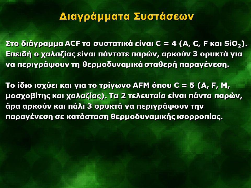 Στο διάγραμμα ACF τα συστατικά είναι C = 4 (Α, C, F και SiO 2 ). Επειδή ο χαλαζίας είναι πάντοτε παρών, αρκούν 3 ορυκτά για να περιγράψουν τη θερμοδυν