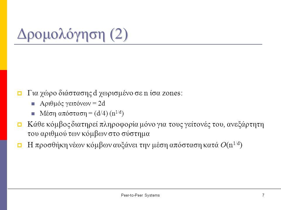Peer-to-Peer Systems7 Δρομολόγηση (2)  Για χώρο διάστασης d χωρισμένο σε n ίσα zones: Αριθμός γειτόνων = 2d Μέση απόσταση = (d/4) (n 1/d )  Κάθε κόμ