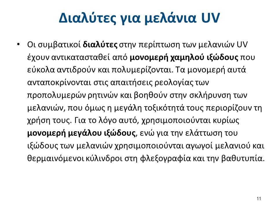 Διαλύτες για μελάνια UV Οι συμβατικοί διαλύτες στην περίπτωση των μελανιών UV έχουν αντικατασταθεί από μονομερή χαμηλού ιξώδους που εύκολα αντιδρούν κ