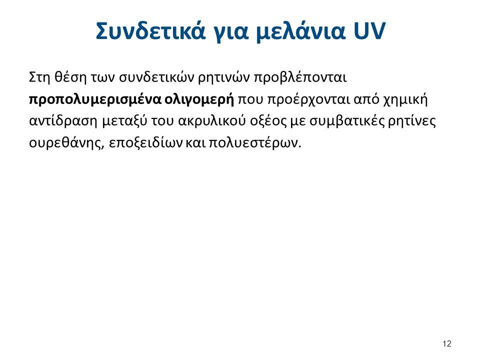 Συνδετικά για μελάνια UV Στη θέση των συνδετικών ρητινών προβλέπονται προπολυμερισμένα ολιγομερή που προέρχονται από χημική αντίδραση μεταξύ του ακρυλ