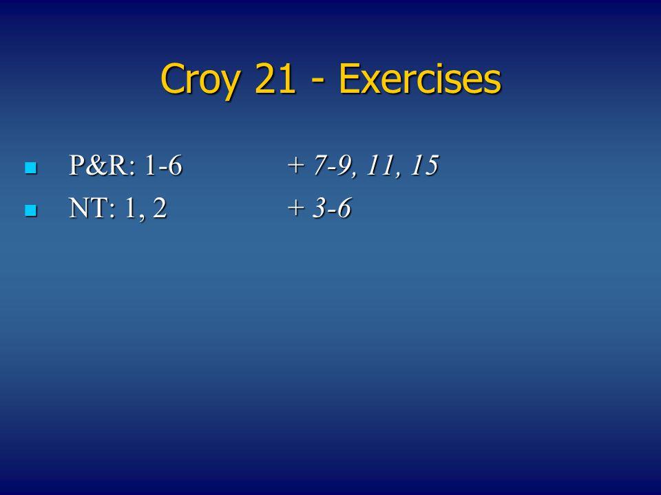 Croy 21 - Exercises P&R: 1-6+ 7-9, 11, 15 P&R: 1-6+ 7-9, 11, 15 NT: 1, 2+ 3-6 NT: 1, 2+ 3-6