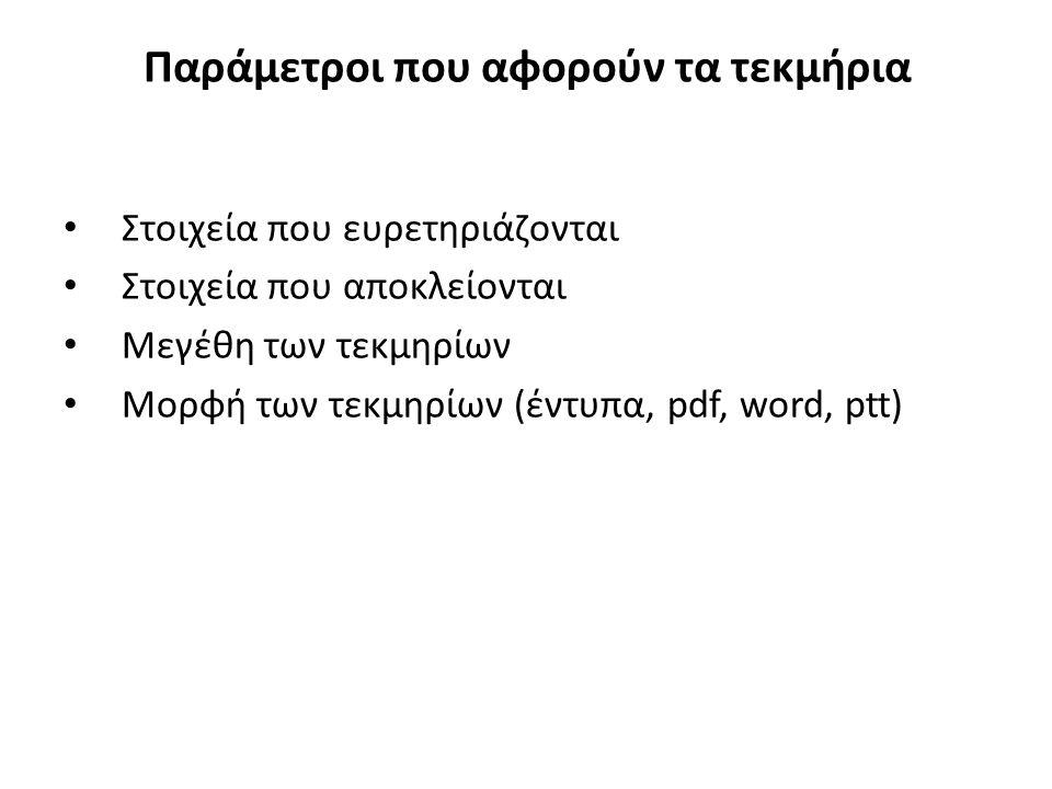 Παράμετροι που αφορούν τα τεκμήρια Στοιχεία που ευρετηριάζονται Στοιχεία που αποκλείονται Μεγέθη των τεκμηρίων Μορφή των τεκμηρίων (έντυπα, pdf, word, ptt)