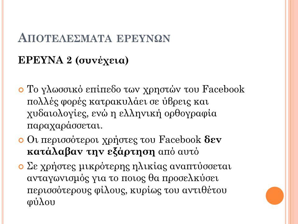 Α ΠΟΤΕΛΕΣΜΑΤΑ ΕΡΕΥΝΩΝ ΕΡΕΥΝΑ 2 (συνέχεια) Το γλωσσικό επίπεδο των χρηστών του Facebook πολλές φορές κατρακυλάει σε ύβρεις και χυδαιολογίες, ενώ η ελληνική ορθογραφία παραχαράσσεται.