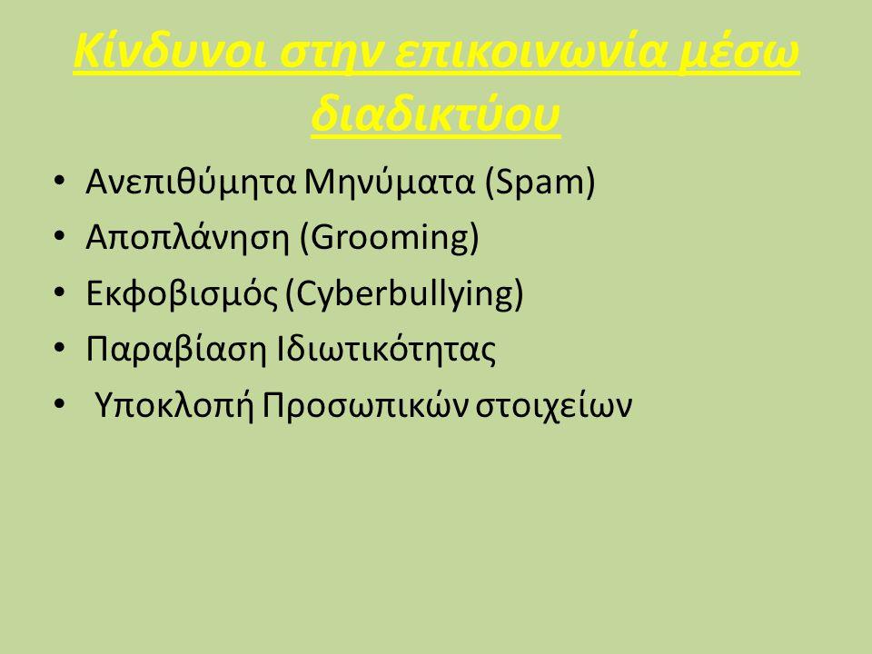 Κίνδυνοι στην επικοινωνία μέσω διαδικτύου Ανεπιθύμητα Μηνύματα (Spam) Αποπλάνηση (Grooming) Εκφοβισμός (Cyberbullying) Παραβίαση Ιδιωτικότητας Υποκλοπή Προσωπικών στοιχείων