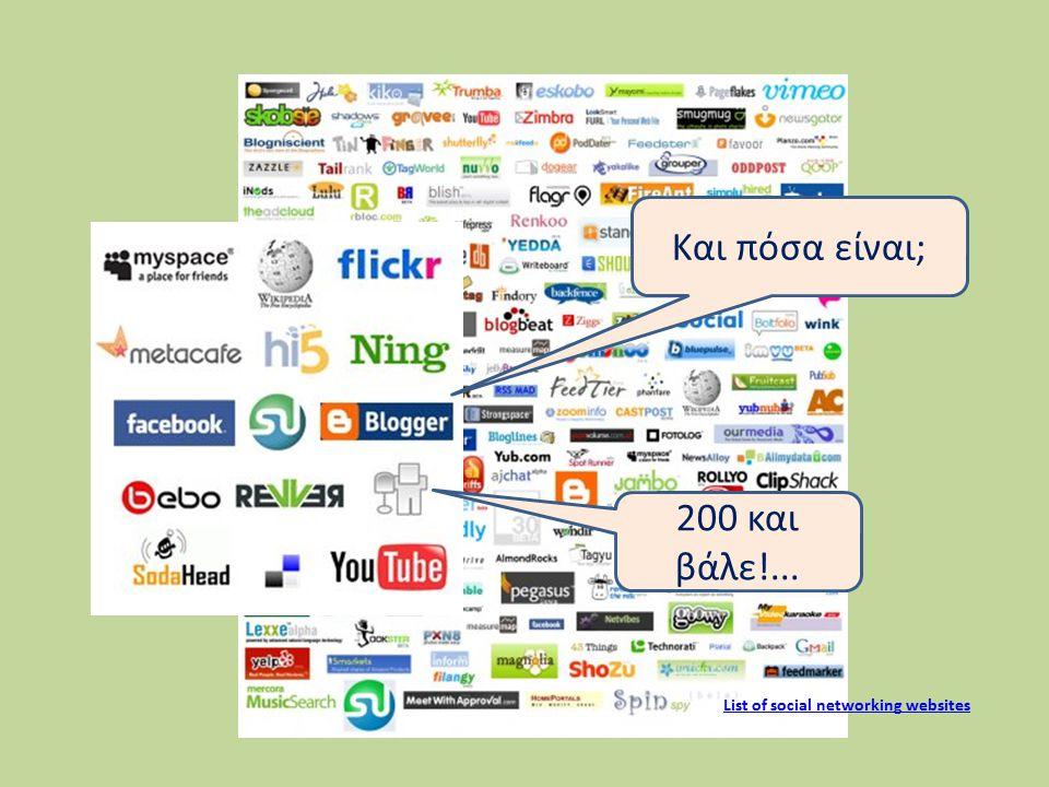 List of social networking websites Και πόσα είναι; 200 και βάλε!...