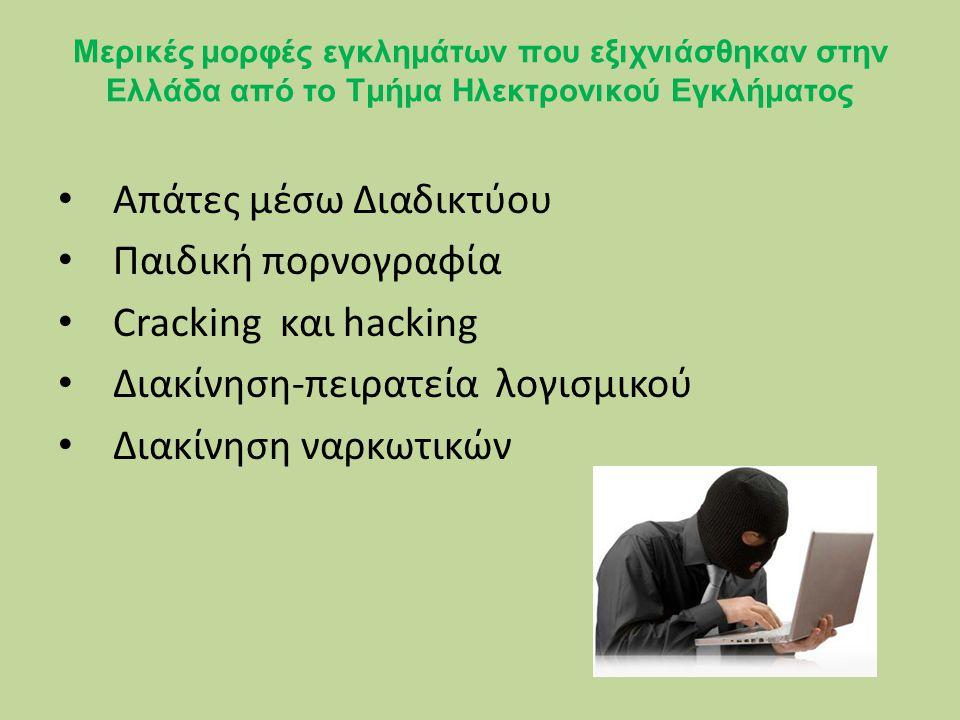 Μερικές μορφές εγκλημάτων που εξιχνιάσθηκαν στην Ελλάδα από το Τμήμα Ηλεκτρονικού Εγκλήματος Απάτες μέσω Διαδικτύου Παιδική πορνογραφία Cracking και hacking Διακίνηση-πειρατεία λογισμικού Διακίνηση ναρκωτικών
