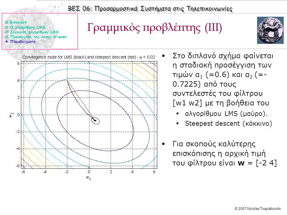 ΒΕΣ 06: Προσαρμοστικά Συστήματα στις Τηλεπικοινωνίες © 2007 Nicolas Tsapatsoulis Γραμμικός προβλέπτης (IIΙ)  Στο διπλανό σχήμα φαίνεται η σταδιακή πρ