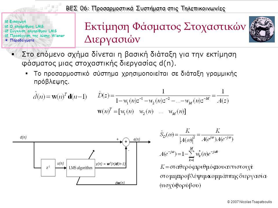 ΒΕΣ 06: Προσαρμοστικά Συστήματα στις Τηλεπικοινωνίες © 2007 Nicolas Tsapatsoulis  Στο επόμενο σχήμα δίνεται η βασική διάταξη για την εκτίμηση φάσματο