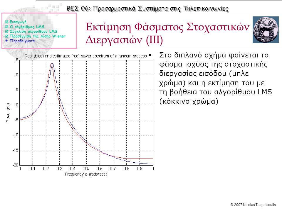 ΒΕΣ 06: Προσαρμοστικά Συστήματα στις Τηλεπικοινωνίες © 2007 Nicolas Tsapatsoulis  Στο διπλανό σχήμα φαίνεται το φάσμα ισχύος της στοχαστικής διεργασί