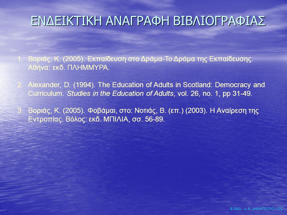 ΕΝΔΕΙΚΤΙΚΗ ΑΝΑΓΡΑΦΗ ΒΙΒΛΙΟΓΡΑΦΙΑΣ © 2003 - Α. Ε. ΔΗΜΗΤΡΟΠΟΥΛΟΣ 1.Βοριάς, Κ. (2005). Εκπαίδευση στο Δράμα-Το Δράμα της Εκπαίδευσης. Αθήνα: εκδ. ΠΛΗΜΜΥΡ