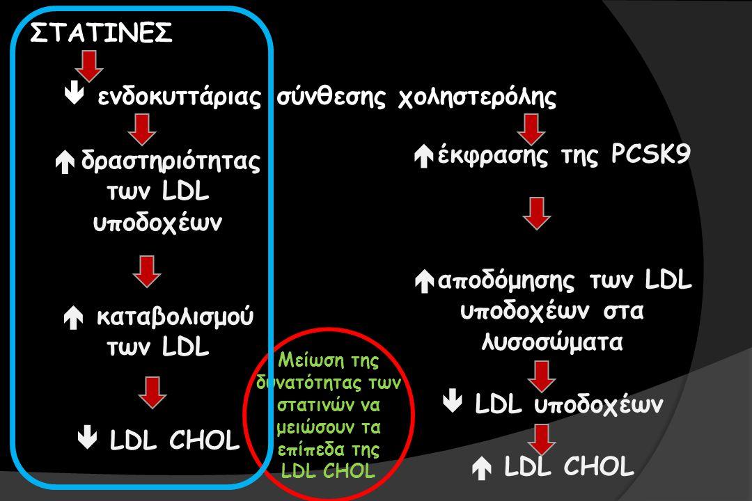 ΣΤΑΤΙΝΕΣ  ενδοκυττάριας σύνθεσης χοληστερόλης  δραστηριότητας των LDL υποδοχέων  καταβολισμού των LDL  LDL CHOL  έκφρασης της PCSK9  αποδόμησης