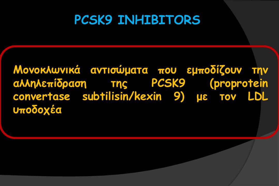 PCSK9 INHIBITORS Μονοκλωνικά αντισώματα που εμποδίζουν την αλληλεπίδραση της PCSK9 (proprotein convertase subtilisin/kexin 9) με τον LDL υποδοχέα