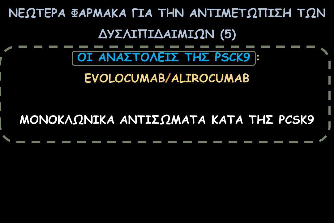 ΝΕΩΤΕΡΑ ΦΑΡΜΑΚΑ ΓΙΑ ΤΗΝ ΑΝΤΙΜΕΤΩΠΙΣΗ ΤΩΝ ΔΥΣΛΙΠΙΔΑΙΜΙΩΝ (5) OI ΑΝΑΣΤΟΛΕΙΣ ΤΗΣ PSCK9 : EVOLΟCUMAB/ALIROCUMAB ΜΟΝΟΚΛΩΝΙΚΑ ΑΝΤΙΣΩΜΑΤΑ ΚΑΤΑ ΤΗΣ PCSK9