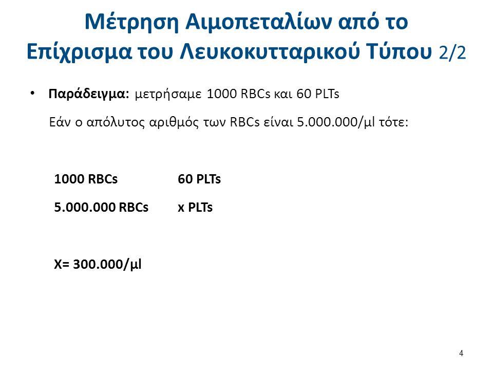 Μέτρηση Αιμοπεταλίων με πλάκα Neubauer 1/2 1.Καταστρέφονται τα RBCs με υπότονο διάλυμα οξαλικού Αμμωνίου.