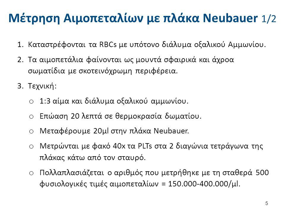 Μέτρηση Αιμοπεταλίων με πλάκα Neubauer 1/2 1.Καταστρέφονται τα RBCs με υπότονο διάλυμα οξαλικού Αμμωνίου. 2.Τα αιμοπετάλια φαίνονται ως μουντά σφαιρικ