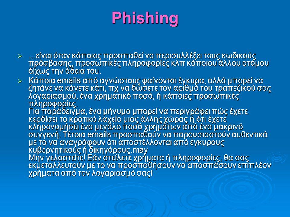 Phishing ...είναι όταν κάποιος προσπαθεί να περισυλλέξει τους κωδικούς πρόσβασης, προσωπικές πληροφορίες κλπ κάποιου άλλου ατόμου δίχως την άδεια του