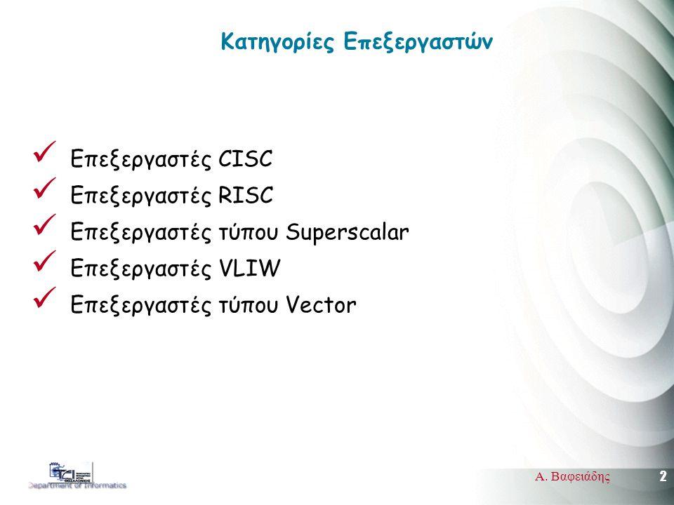 2 Α. Βαφειάδης Κατηγορίες Επεξεργαστών Επεξεργαστές CISC Επεξεργαστές RISC Επεξεργαστές τύπου Superscalar Επεξεργαστές VLIW Επεξεργαστές τύπου Vector