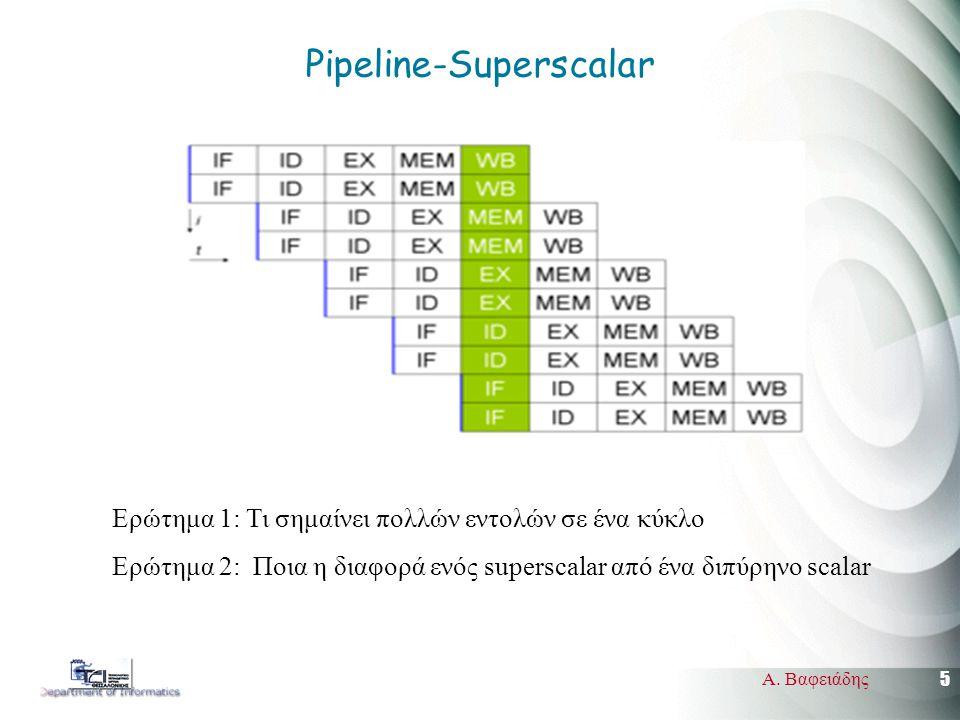 5 Α. Βαφειάδης Pipeline-Superscalar Ερώτημα 1: Τι σημαίνει πολλών εντολών σε ένα κύκλο Ερώτημα 2: Ποια η διαφορά ενός superscalar από ένα διπύρηνο sca