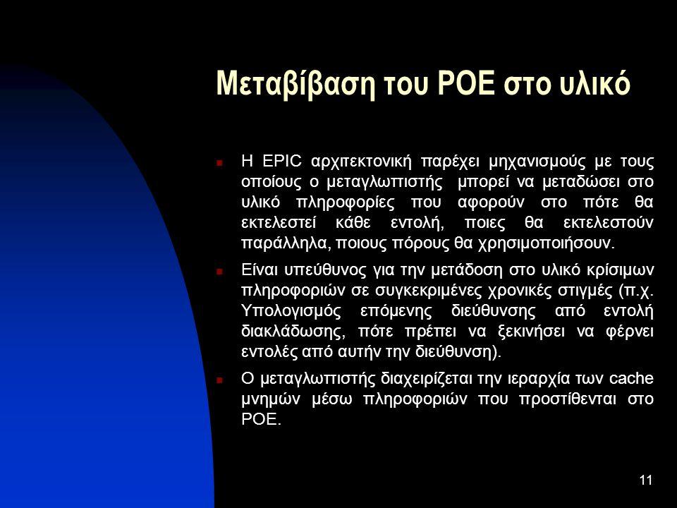 11 Μεταβίβαση του POE στο υλικό Η EPIC αρχιτεκτονική παρέχει μηχανισμούς με τους οποίους ο μεταγλωττιστής μπορεί να μεταδώσει στο υλικό πληροφορίες που αφορούν στο πότε θα εκτελεστεί κάθε εντολή, ποιες θα εκτελεστούν παράλληλα, ποιους πόρους θα χρησιμοποιήσουν.