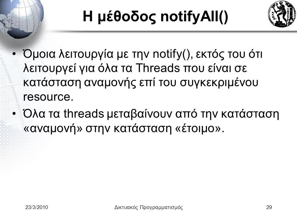 Η μέθοδος notifyAll() Όμοια λειτουργία με την notify(), εκτός του ότι λειτουργεί για όλα τα Threads που είναι σε κατάσταση αναμονής επί του συγκεκριμένου resource.