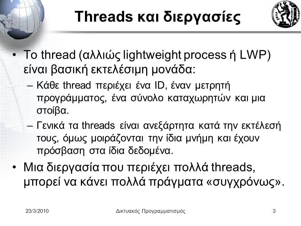 Threads και διεργασίες Το thread (αλλιώς lightweight process ή LWP) είναι βασική εκτελέσιμη μονάδα: –Κάθε thread περιέχει ένα ID, έναν μετρητή προγράμματος, ένα σύνολο καταχωρητών και μια στοίβα.
