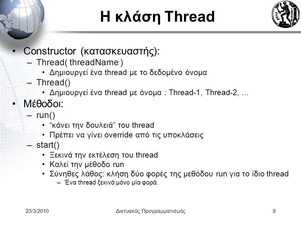 Η κλάση Thread Constructor (κατασκευαστής): –Thread( threadName ) Δημιουργεί ένα thread με το δεδομένο όνομα –Thread() Δημιουργεί ένα thread με όνομα : Thread-1, Thread-2,...