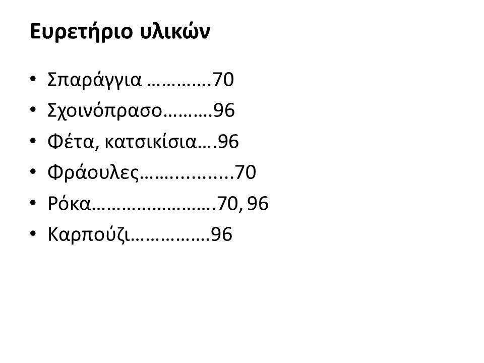 Ευρετήριο υλικών Σπαράγγια ………….70 Σχοινόπρασο……….96 Φέτα, κατσικίσια….96 Φράουλες……............70 Ρόκα…………………….70, 96 Καρπούζι…………….96