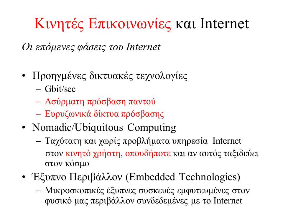 Κινητές Επικοινωνίες και Internet Οι επόμενες φάσεις του Internet Προηγμένες δικτυακές τεχνολογίες –Gbit/sec –Ασύρματη πρόσβαση παντού –Ευρυζωνικά δίκτυα πρόσβασης Nomadic/Ubiquitous Computing –Ταχύτατη και χωρίς προβλήματα υπηρεσία Internet στον κινητό χρήστη, οπουδήποτε και αν αυτός ταξιδεύει στον κόσμο Έξυπνο Περιβάλλον (Embedded Technologies) –Μικροσκοπικές έξυπνες συσκευές εμφυτευμένες στον φυσικό μας περιβάλλον συνδεδεμένες με το Internet