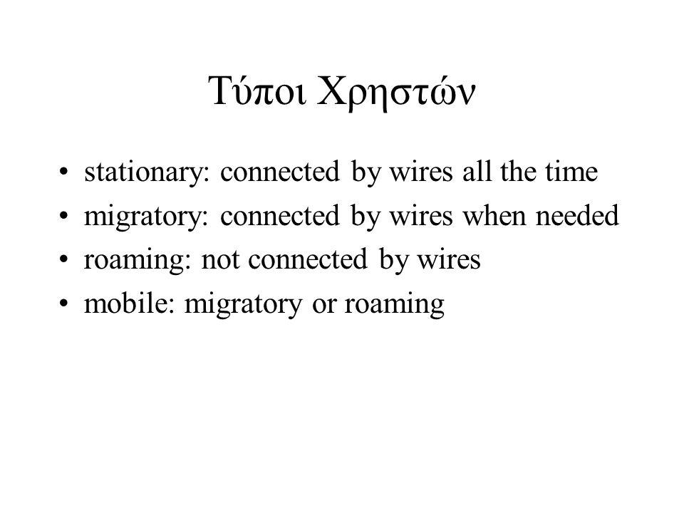 Τύποι Χρηστών stationary: connected by wires all the time migratory: connected by wires when needed roaming: not connected by wires mobile: migratory or roaming
