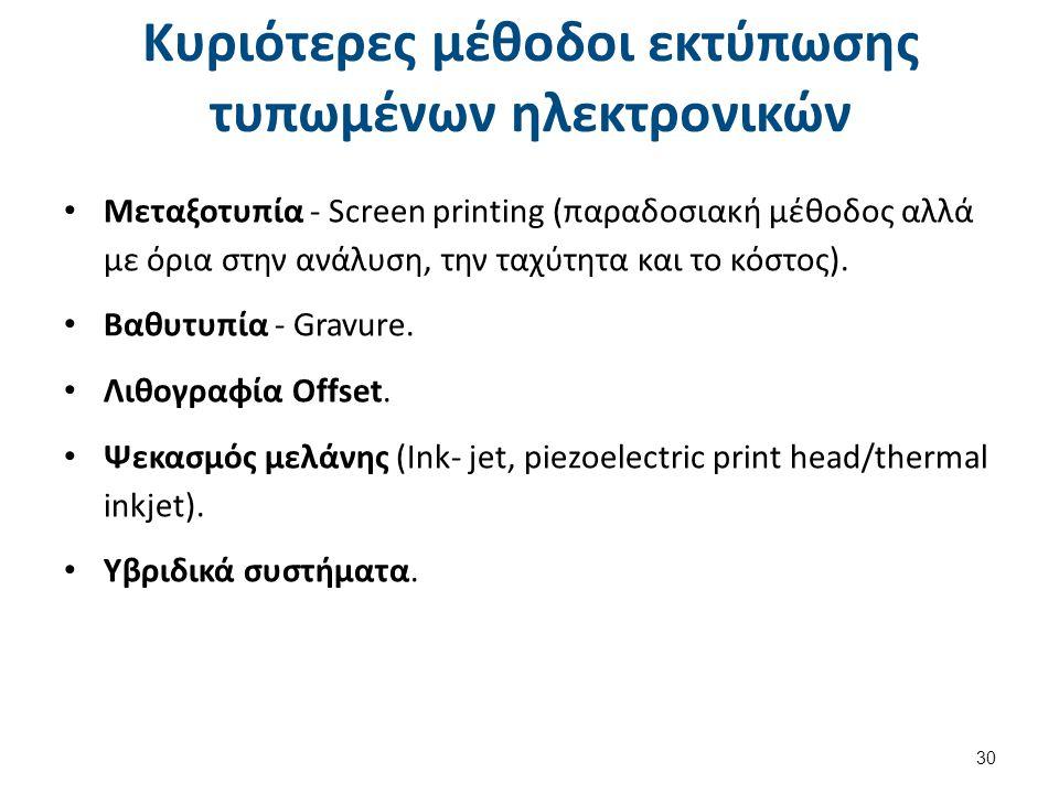 Κυριότερες μέθοδοι εκτύπωσης τυπωμένων ηλεκτρονικών Μεταξοτυπία - Screen printing (παραδοσιακή μέθοδος αλλά με όρια στην ανάλυση, την ταχύτητα και το