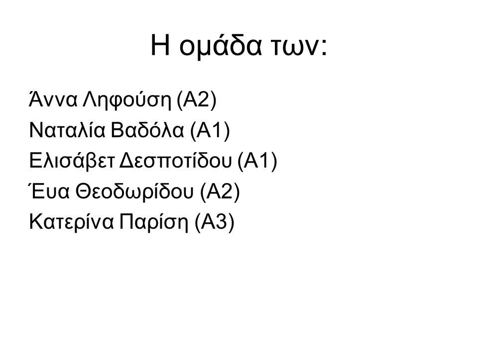 Η ομάδα των: Άννα Ληφούση (Α2) Ναταλία Βαδόλα (Α1) Ελισάβετ Δεσποτίδου (Α1) Έυα Θεοδωρίδου (Α2) Κατερίνα Παρίση (Α3)