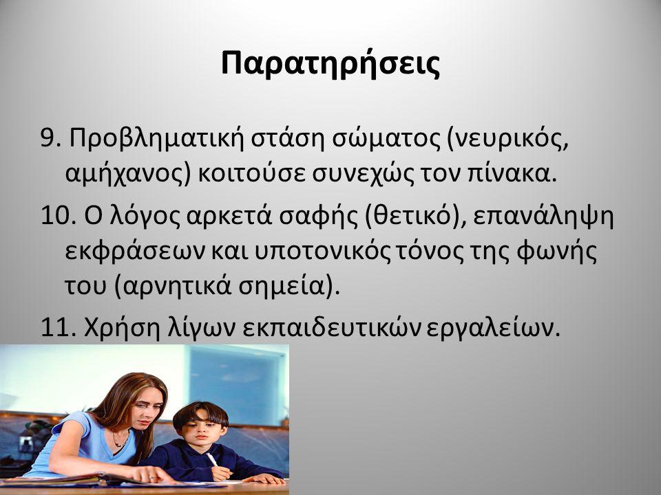 Παρατηρήσεις 10.Η συμπεριφορά απρόσωπη (η τάξη δε συμμετείχε).