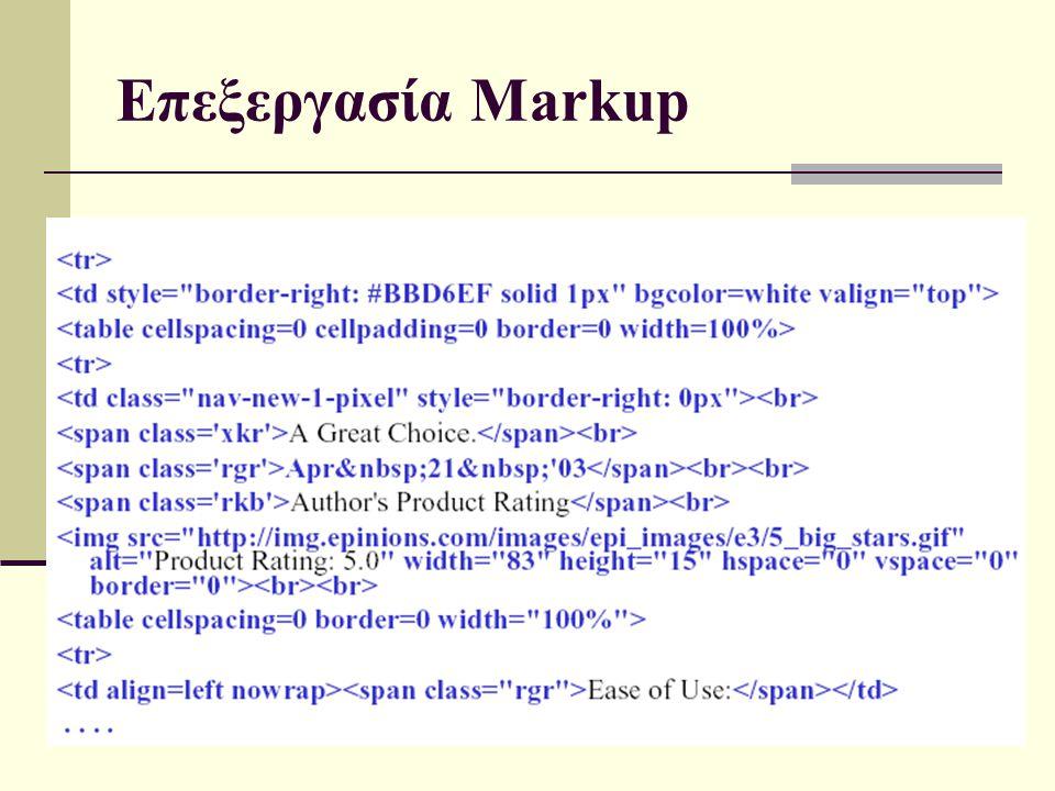 15/4/2015 Γλωσσική Τεχνολογία14 Επεξεργασία Markup