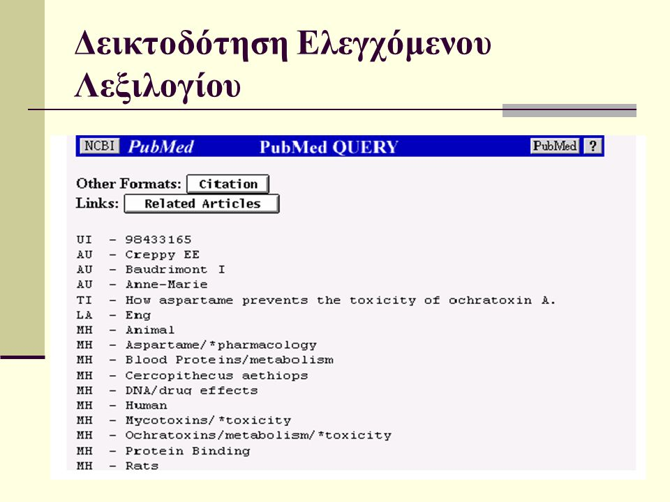 15/4/2015 Γλωσσική Τεχνολογία21 Δεικτοδότηση Ελεγχόμενου Λεξιλογίου