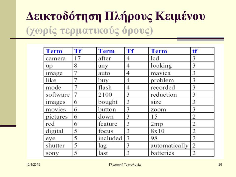 15/4/2015 Γλωσσική Τεχνολογία26 Δεικτοδότηση Πλήρους Κειμένου (χωρίς τερματικούς όρους)