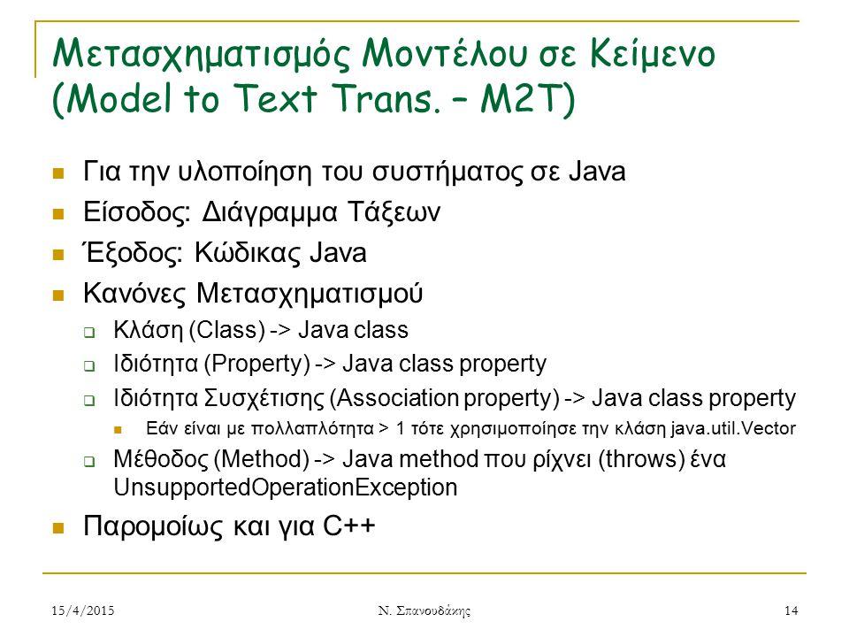 Μετασχηματισμός Μοντέλου σε Κείμενο (Model to Text Trans. – M2T) Για την υλοποίηση του συστήματος σε Java Είσοδος: Διάγραμμα Τάξεων Έξοδος: Κώδικας Ja