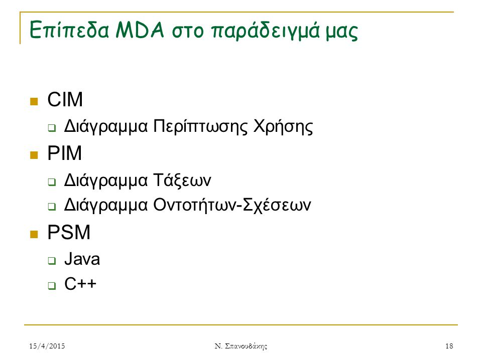 Επίπεδα MDA στο παράδειγμά μας CIM  Διάγραμμα Περίπτωσης Χρήσης PIM  Διάγραμμα Τάξεων  Διάγραμμα Οντοτήτων-Σχέσεων PSM  Java  C++ 15/4/2015 Ν. Σπ