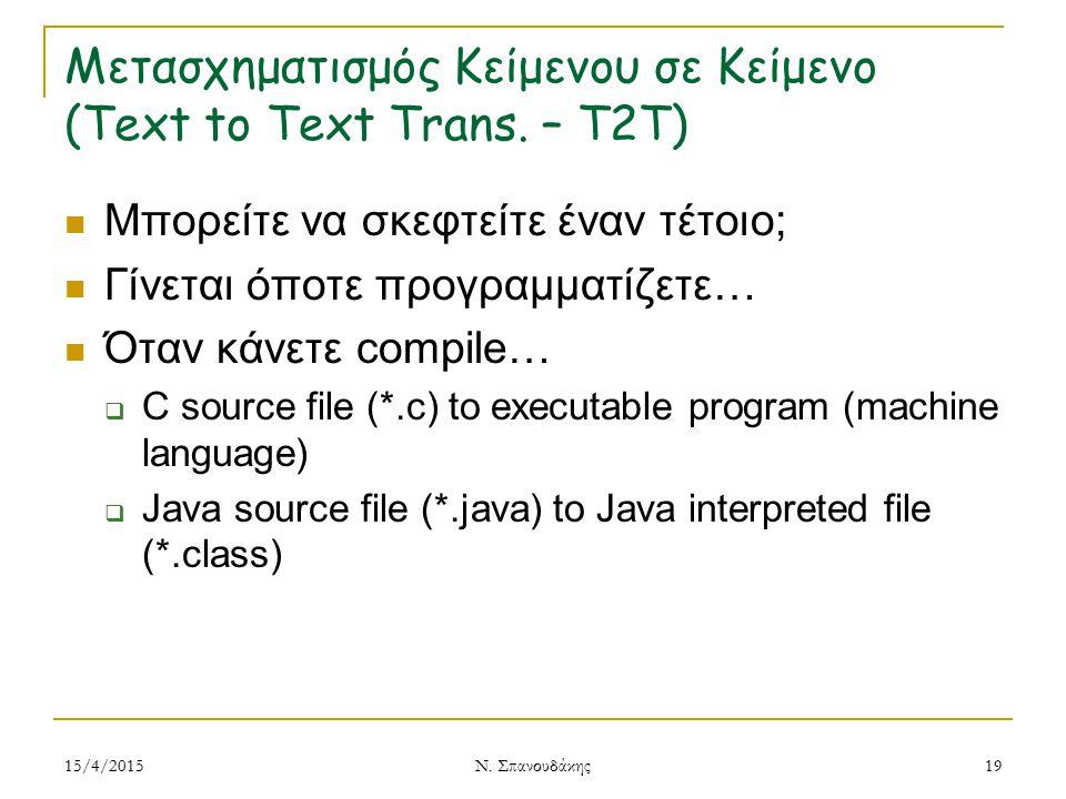 Μετασχηματισμός Κείμενου σε Κείμενο (Text to Text Trans. – T2T) Μπορείτε να σκεφτείτε έναν τέτοιο; Γίνεται όποτε προγραμματίζετε… Όταν κάνετε compile…