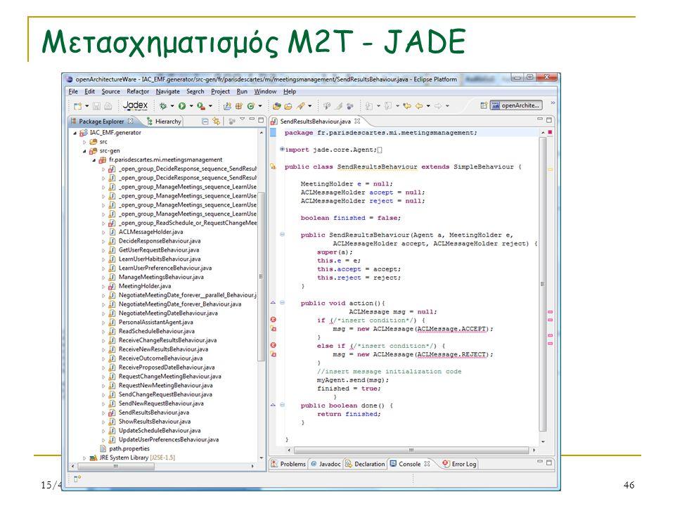 Μετασχηματισμός M2T - JADE 15/4/201546 Ν. Σπανουδάκης
