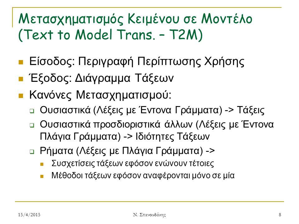 Μετασχηματισμός Κειμένου σε Μοντέλο (Text to Model Trans. – T2M) Είσοδος: Περιγραφή Περίπτωσης Χρήσης Έξοδος: Διάγραμμα Τάξεων Κανόνες Μετασχηματισμού