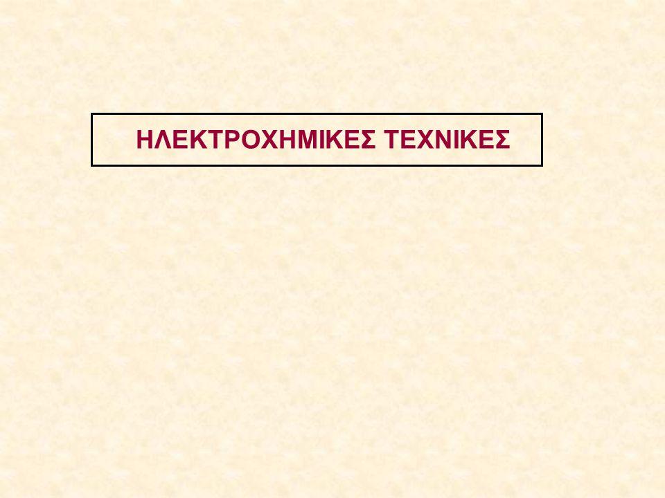 Πολαρογραφία: Η βολταμμετρία του σταγονικού ηλεκτροδίου Hg Εξίσωση Ilkovic Ρεύμα κατά την ανάπτυξη της σταγόνας: i d (t) = 708 n D A 1/2 m 2/3 C A * t 1/6 Mέση τιμή ρεύματος: i d (t) = 607 n D A 1/2 m 2/3 C A * τ 1/6 i d : ρεύμα διάχυσης (μΑ) n: αριθμός ηλεκτρονίων/σωματίδιο Α (eq/mol) D A : συντελεστής διάχυσης ουσίας Α (cm 2 /s) m: ροή Hg (mg/s) C A *: συγκέντρωση της ουσίας Α (mmol/L) τ: χρόνος ζωής της σταγόνας Hg (s)