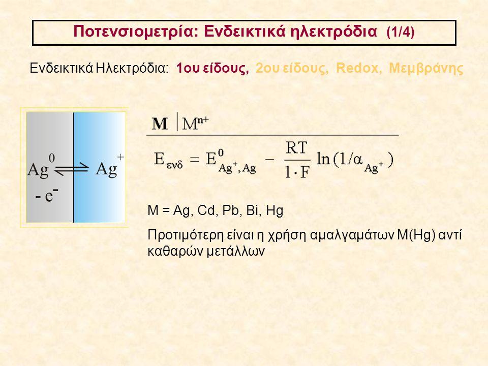 Ποτενσιομετρία: Ενδεικτικά ηλεκτρόδια (1/4) Ενδεικτικά Ηλεκτρόδια: 1ου είδους, 2ου είδους, Redox, Μεμβράνης Μ = Ag, Cd, Pb, Bi, Hg Προτιμότερη είναι η