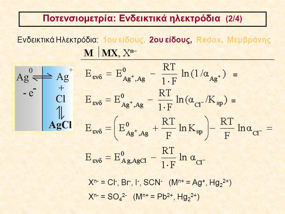 Ποτενσιομετρία: Ενδεικτικά ηλεκτρόδια (2/4) Ενδεικτικά Ηλεκτρόδια: 1ου είδους, 2ου είδους, Redox, Μεμβράνης Χ n- = Cl -, Br -, I -, SCN - (M n+ = Ag +