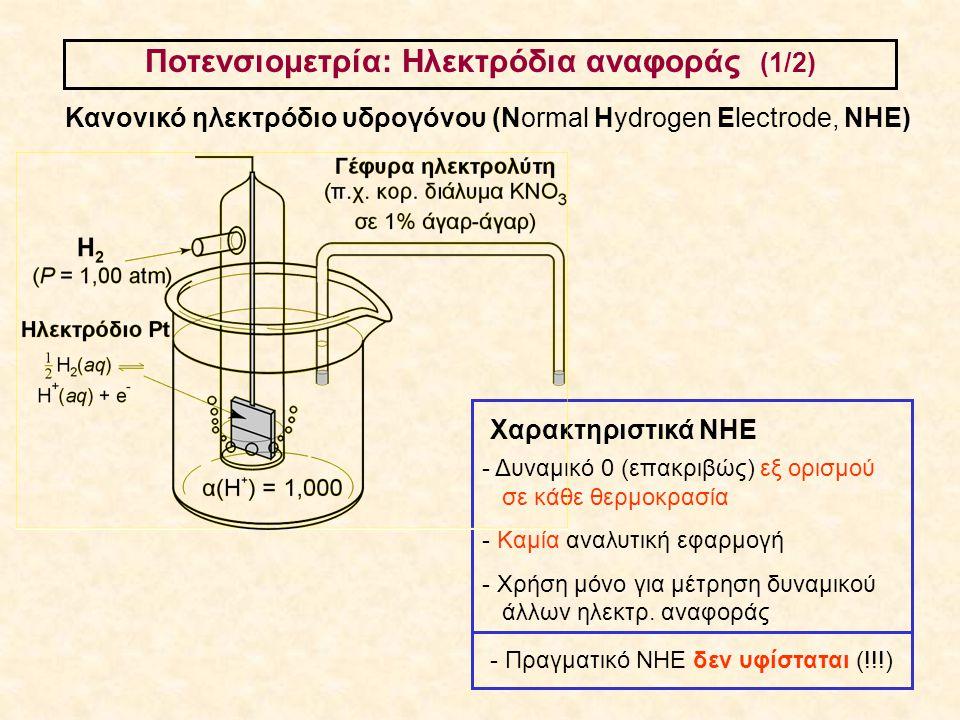 Ποτενσιομετρία: Ηλεκτρόδια αναφοράς (1/2) Κανονικό ηλεκτρόδιο υδρογόνου (Normal Hydrogen Electrode, ΝΗΕ) - Δυναμικό 0 (επακριβώς) εξ ορισμού σε κάθε θ