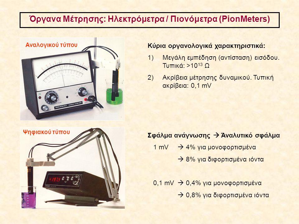 Όργανα Μέτρησης: Ηλεκτρόμετρα / Πιονόμετρα (PionMeters) Κύρια οργανολογικά χαρακτηριστικά: 1)Μεγάλη εμπέδηση (αντίσταση) εισόδου. Τυπικά: >10 13 Ω 2)
