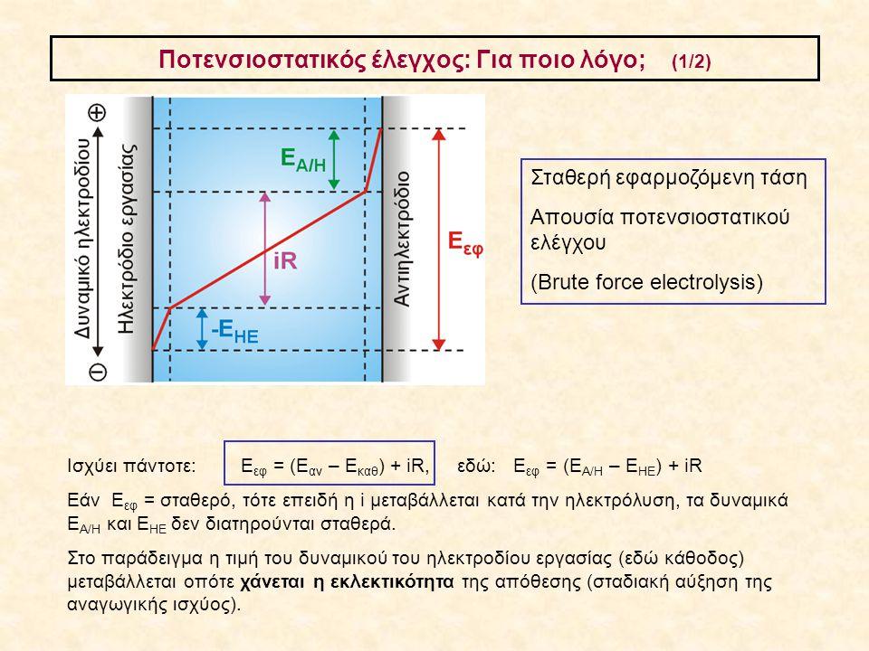 Ποτενσιοστατικός έλεγχος: Για ποιο λόγο; (1/2) Ισχύει πάντοτε: E εφ = (Ε αν – Ε καθ ) + iR, εδώ: E εφ = (Ε Α/Η – Ε ΗΕ ) + iR Eάν E εφ = σταθερό, τότε
